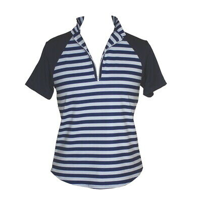 BNWT, Ladies Golf Shirt with Stripes & Navy Short Sleeves, FREE SHIPPING!