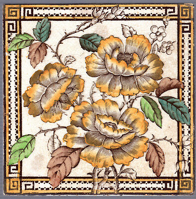 The Decorative Art Tile Co.- c.1885 - Orange Roses - Antique Victorian Tile