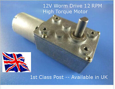 12V DC 12 RPM Reversable - Worm Drive Motor & GBox - Hi Torque - Available in UK