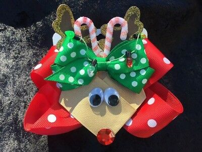Hand-Crafted Reindeer Hairbow, Large