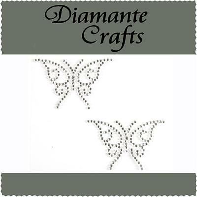 2 x 41mm Clear Diamante Butterflies Rhinestone Vajazzle Self Adhesive Body Gems