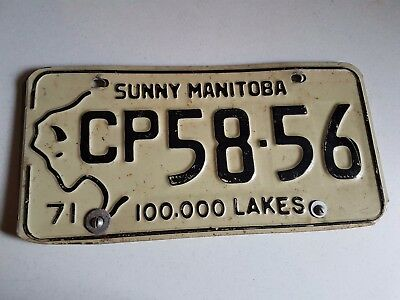 Vintage Canadian Licence Plate Canada Lot of 2 Bolted Sunny Manitoba 1971 White