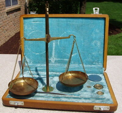 Vintage Jewelers Portable Scale Balance With Weights