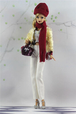 7in1 Fashion clothes/outfit Coat+vest+pants+hat+scarf+shoes+bag For 11.5in.Doll