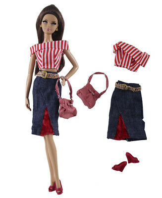 4in1 Fashion clothes/outfit Top+skirt+shoes+bag For 11.5in.Doll