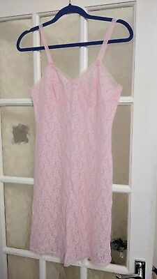 "vintage ladies M&S pink all lace lined full slip size small 32"" bust length 35"""