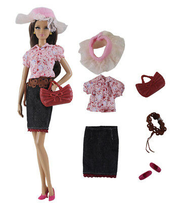 6in1 Fashion clothes/outfit Top+skirt+hat+belt+shoes+bag For 11.5in.Doll