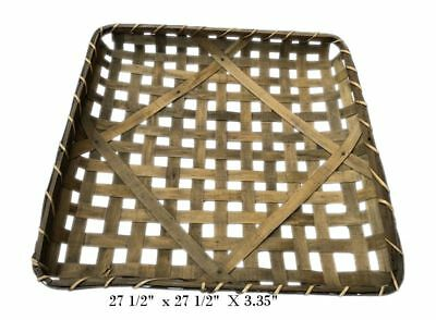 "27 1/2"" Square Tobacco Wood Basket Vintage Primitive Look Country Farmhouse"