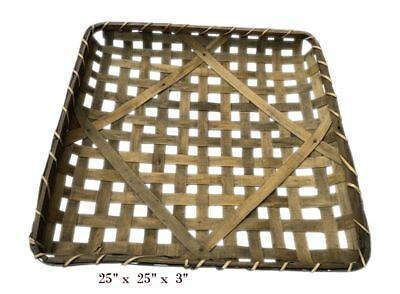 "25"" Square Tobacco Wood Basket Vintage Primitive Look Country Farmhouse"
