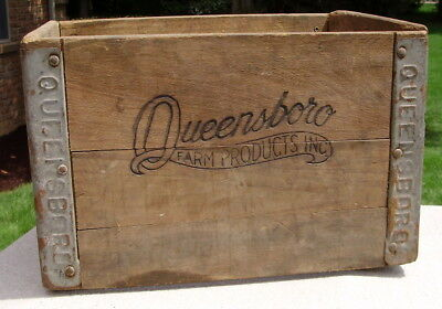 Antique Vintage Wood Box Queensboro Farm Products Crate