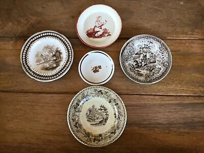 Antique Assorted Lot Of Miniature Transfer Ware & Other Miniature Plate