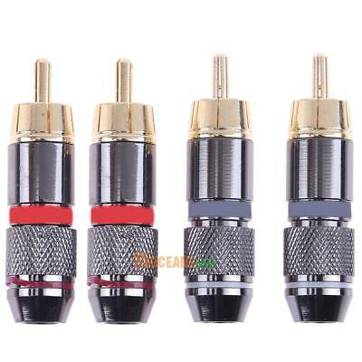 2 Pairs 4pcs Copper RCA Male Plug Gold Plated Audio Video Connector Adapter