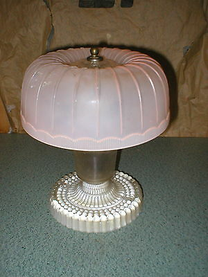 Antique Vintage Art Deco Frosted Pink & Clear Glass Light Fixture Ceiling 10 1/4
