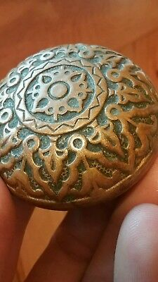 Antique Ornate Brass Bronze Door Knob - Victorian old Hardware