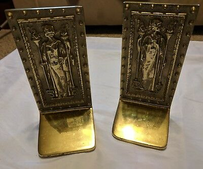 Vintage The Doors To The Library of Congress Humanitas & Intellectus Bookends NR