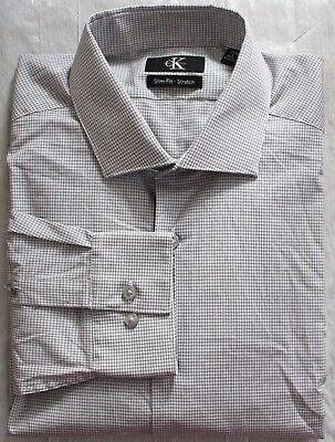 NWOT CALVIN KLEIN Slim Fit Stretch Button Up Dress Shirt White Plaid Variety
