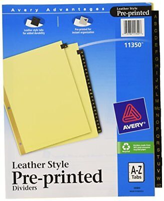 25 Pre Printed Leather Style Alphabet Letters Tabs Dividers For Notebook Black