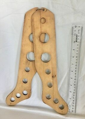 Antique Pair Of Wooden Child's Sock Stocking 8 Hole Stretcher Dryer Forms