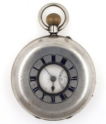 Rotherhams London Half Hunter English Lever Silver Cased Pocket Watch