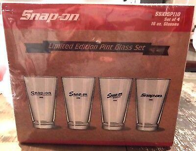 Snap-on Limited Edition Glass Set of 4 Pint Glasses 16oz SSX15P110