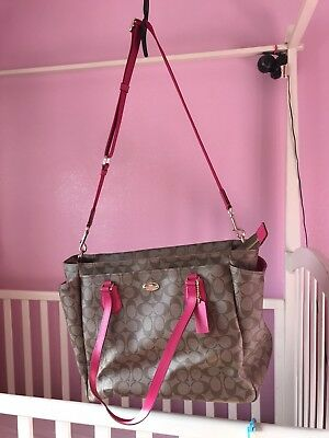 Coach Signature Diaper Bag Brown and Pink
