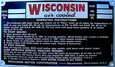 Wisconsin Engine Specification Plate  ( 4 cylinder)