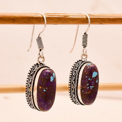 """Purple Copper Turquoise Gemstone Vintage Style .925 Silver Earring 1.4"""""""