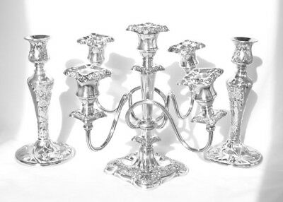 Beautiful Silverplate Candelabra 5-Arm Candelabra & Silver Plate Candlesticks