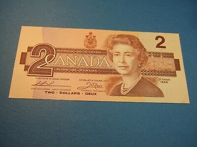 UNC 1986 Bank Of Canada $ 2 Two Dollar Bill Banknote Paper Money