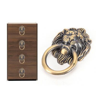 vintage lion head furniture door pull handle knob cabinet dresser drawer ring TS