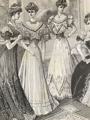 French MODE ILLUSTREE SEWING PATTERN Dec 17,1905 BALL GOWN,