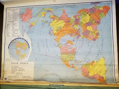 Vintage Nystrom 1966 School Polar World Pull Down Wall Map Canvas with Overlay.