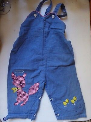 Vintage 1950s Toddler Bib Overalls Chambray Gingham Animal Appliques Fox Chick
