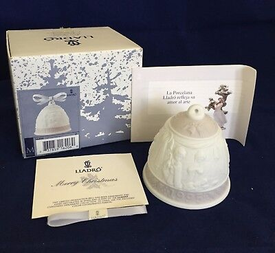Lovely Lladro Porcelain 1995 Christmas Bell Ornament Unused w Box, Booklet &Card