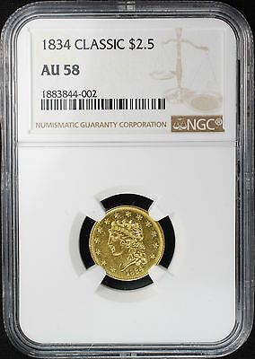 1834 $2 1/2 Classic Head Gold Quarter Eagle, Ngc Au58, Breen 6138, Variety 1, R1