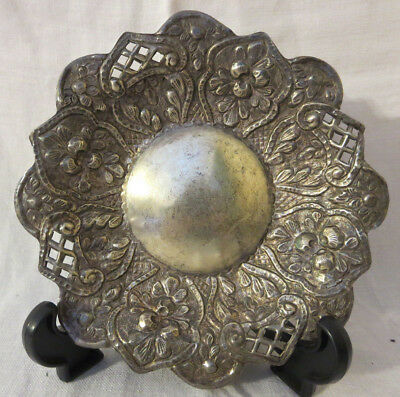 Antique Sterling Silver Repousse Footed Dish ~ Very Old ~ Un-Signed