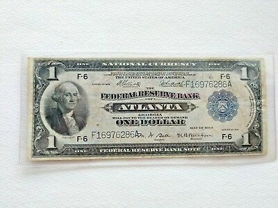 1914 National Currency $1 Large Note Series 1918 Atlanta Federal Reserve Note F6