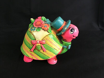 Vintage MOD 1960'2- 1970's plaster TURTLE bank PINK BLUE GREEN YELLOW neon