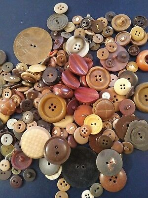 Vintage Sewing Buttons- Assortment of Browns-8 ounces