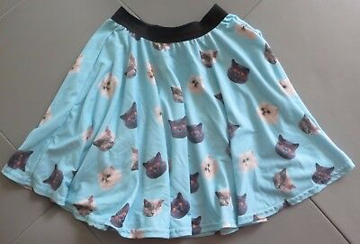 Mr Gugu & Ms Go Blue A Line Twirly Skirt With Cat Faces  Size 7 8 9 See Details