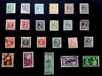 3 page Collection of Early Philippines Stamps Removed From Old Albums