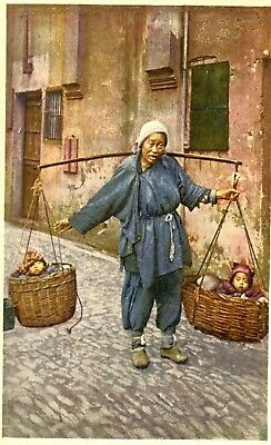 China Woman carrying her Children old postcard
