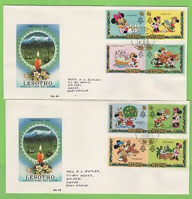 Lesotho 1982 Christmas set on two on First Day Covers