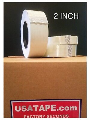 "Lot Of 24 Rolls 2"" INCH X 60  FILAMENT STRAPPING TAPE FACTORY SECONDS fiberglass"