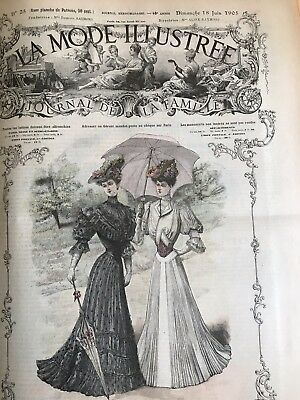 French MODE ILLUSTREE SEWING PATTERN June 18,1905 EVENING BLOUSE ; BONNETS