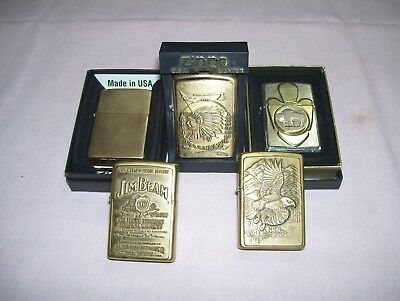 Lot 5 Old Zippo Lighters Brass Jim Beam Indian Chief Eagle Buffalo Nickel Sealed