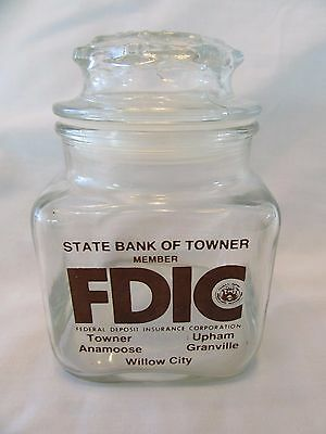 Vintage Apothecary Candy Jar W/ Lid State Bank of Towner, North Dakota