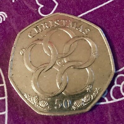 2009 Isle Of Man Christmas 50P Coin - Five Gold Rings