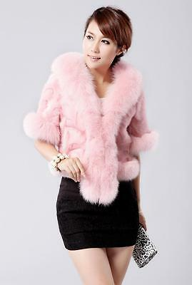 Fashion Women's Bridal Wedding Faux Fur Long Shawl Stole Wrap Shrug Scarf Pink B