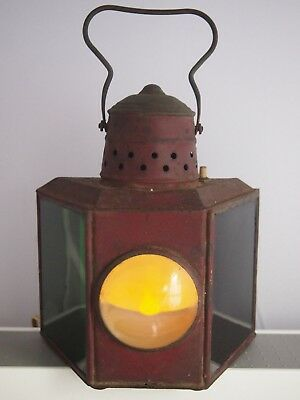 Vintage Metal Nautical Boat Hanging Triangle 3 Way  Light, Green Red White Lens